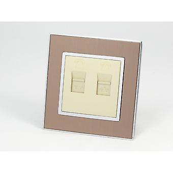 I LumoS AS Luxury Gold Satin Metal Single 2 X Telephone Socket