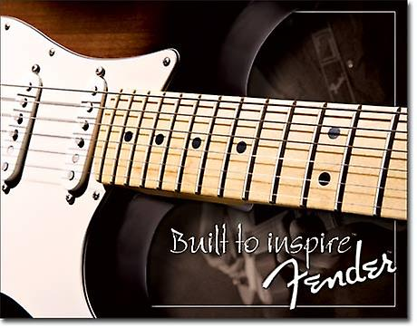 Fender Built To Inspire metal wall sign    425mm x 280mm  (de)