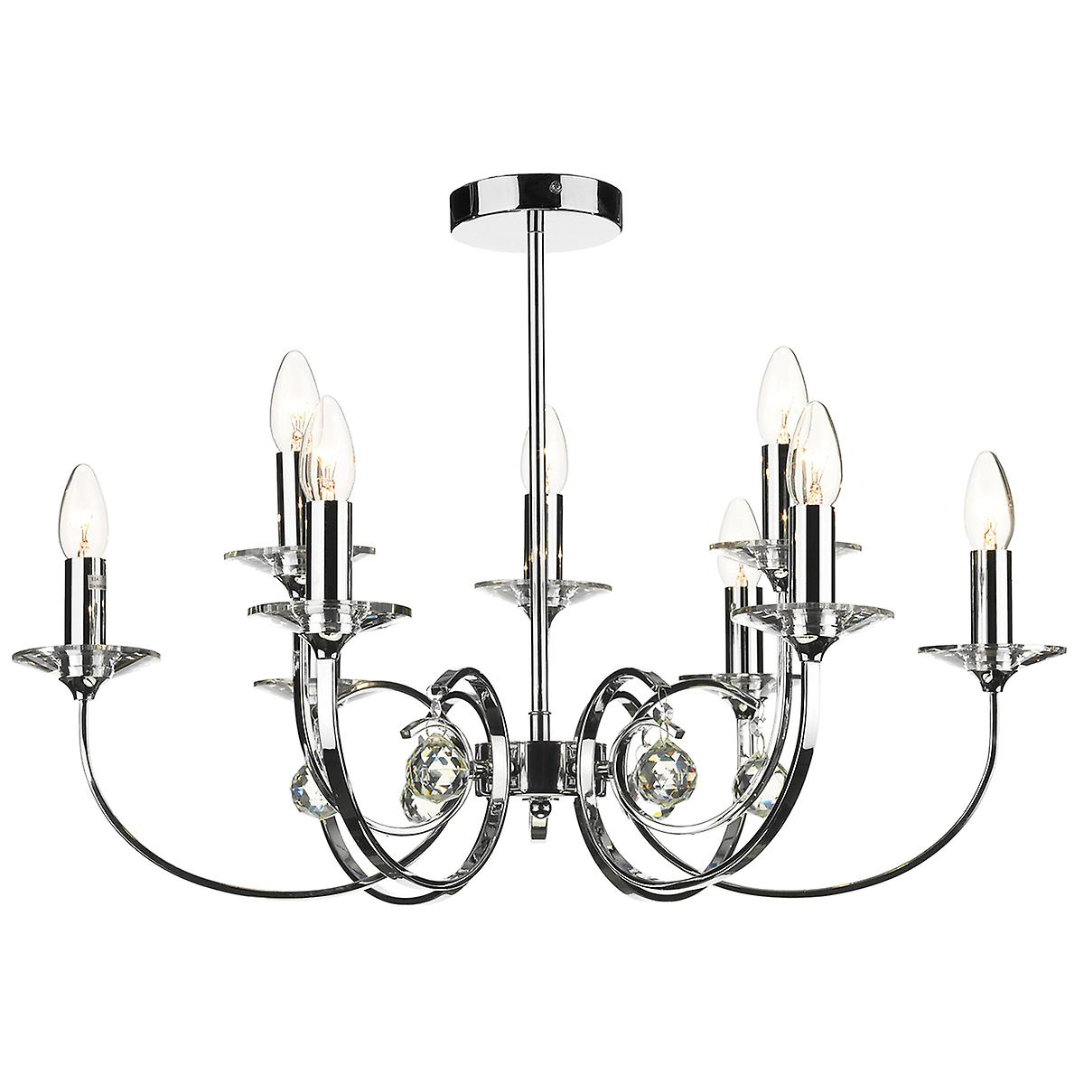 Dar ALL1350 Allegra 9 Arm Modern Chrome Ceiling Pendant With Crystal Sconces