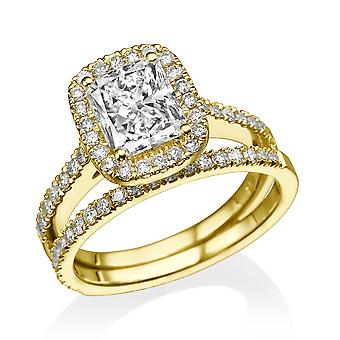 1.8 Carat D SI1 Diamond Engagement Ring 14K Yellow Gold