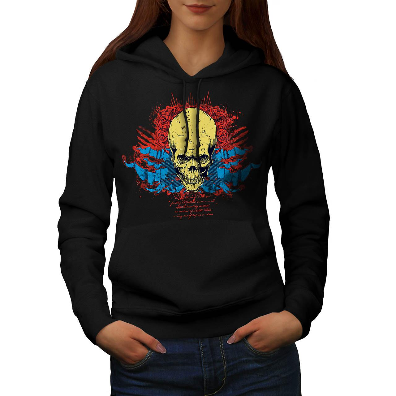 Evil Skull Head Smile Devil Zone Women Black Hoodie | Wellcoda