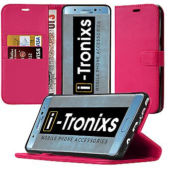 i-Tronixs OnePlus 3T PU Leather Wallet Classic Flip Case + Screen Protector Guard -Pink