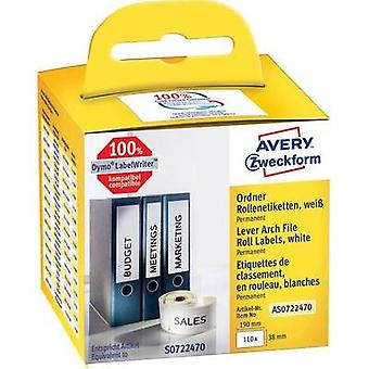 Avery-Zweckform Labels (roll) 190 x 38 mm Paper White 110 pc(s) Permanent AS0722470 Lever arch file labels