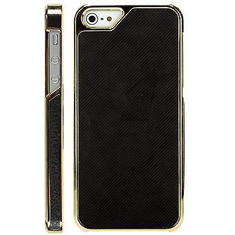 Goldenen Kunststoff-Abdeckung und Serge für iPhone 5 (schwarz)