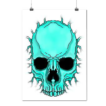 Matte or Glossy Poster with Flare Metal Death Skull Face Cool | Wellcoda | *n87