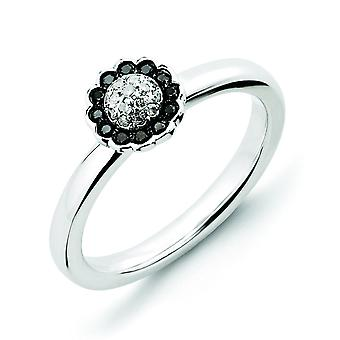 Sterling Silver Polished Prong set Rhodium-plated Stackable Expressions Black and White Diamond Ring - Ring Size: 5 to 1