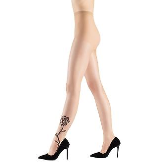 Rosy - ultra sheer tights with a rose motif of Rose tights 15 damped the