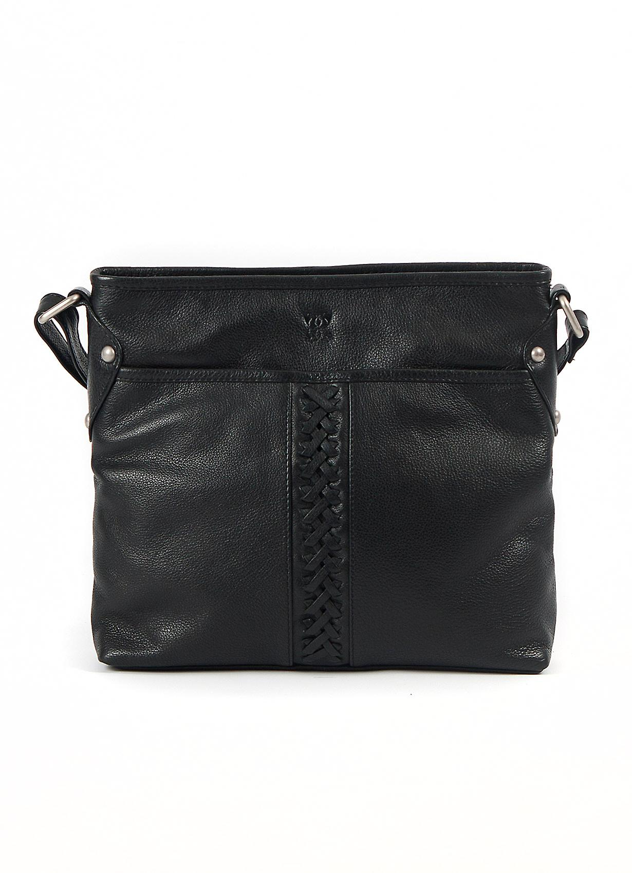 Plaited Leather Across Body Bag in Black