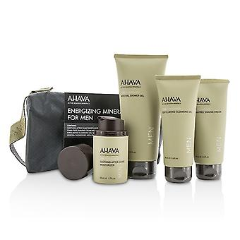 Ahava Energizing Minerals For Men Set: Exfoliating Cleansing Gel 100ml + After-Shave Moisturizer 50ml + Shaving Cream 100ml + Mineral Shower Gel 200ml 4pcs