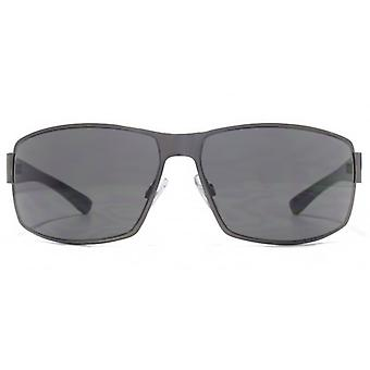 FCUK Reverse Groove Metal Wrap Sunglasses In Gunmetal