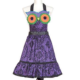 Glitter en pailletten paars Hoot Owl satijn keuken schort Halloween accessoire