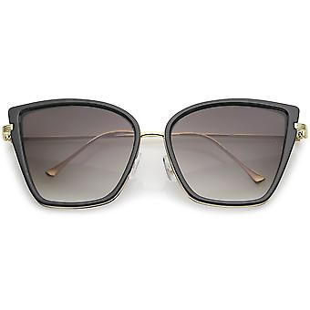 Women's Oversize Cat Eye Sunglasses With Slim Arms Metal Trim Tinted Lens 56mm