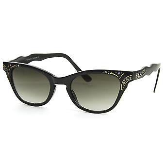 Vintage Inspired Womens Fashion Rhinestone Cat Eye Sunglasses w/ Key-Hole Bridge