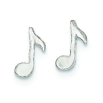 Argento lucido Post nota musicale bambini Mini orecchini - misure 1/4 di pollice
