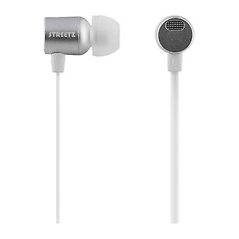 STREETZ stereo headset, in-ear, mick with volume, silver