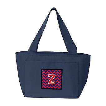Buchstabe Z Chevron Yale blau und Purpur Lunch Bag