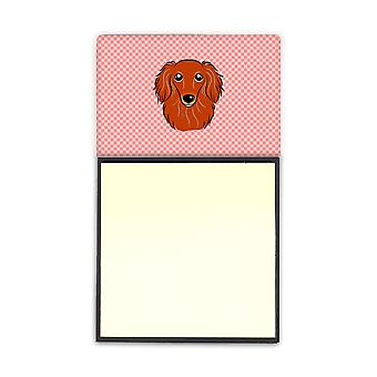 Checkerboard Pink Longhair Red Dachshund Refiillable Sticky Note Holder or Posti