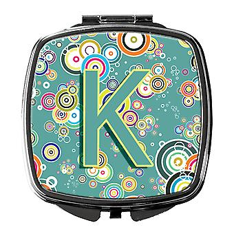 Letter K Circle Circle Teal Initial Alphabet Compact Mirror