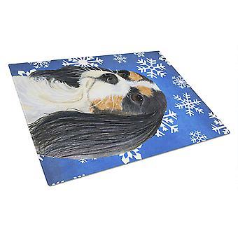 Spaniel Cavalier inverno dei fiocchi di neve vacanze vetro tagliere grande