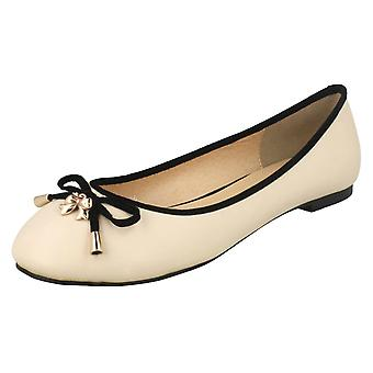 Ladies Spot On Flat Ballerina with Metal Bow Detail