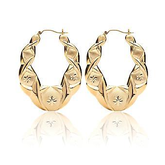 10k Yellow Gold XO Hugs and Kisses Love Earrings