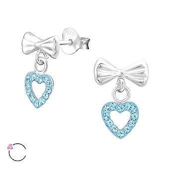 Bow With Hanging Heart crystal from Swarovski® - 925 Sterling Silver Ear Studs