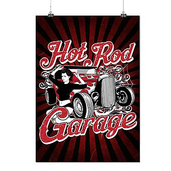 Matte or Glossy Poster with Girl Garage Hot Race Car | Wellcoda | *d2405