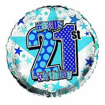 Simon Elvin Star Pattern Happy 21st Birthday Foil Balloon
