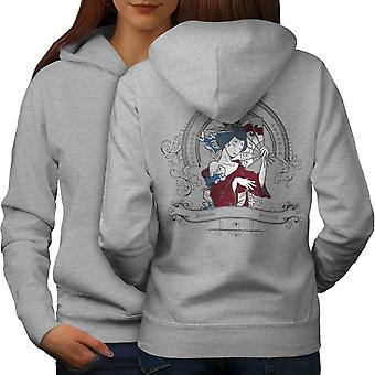 Girl Japan Woman Women GreyHoodie Back | Wellcoda