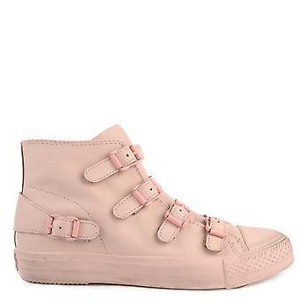 Ash Footwear Venus Powder Pink Leather Buckle Trainer