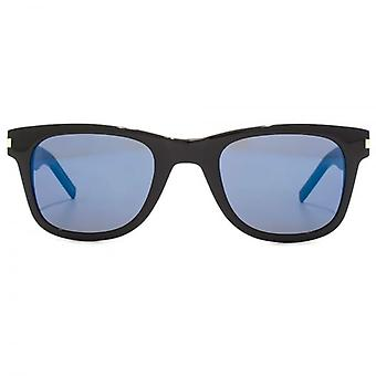 Saint Laurent SL 51 Slim Sunglasses In Black Blue Mirror