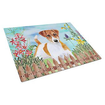 Jack Russell Terrier Spring Glass Cutting Board Large