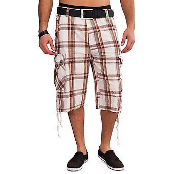 Cargo Shorts Bermudas cuadros hombre shorts cargo pantalón corto cuadros algodón