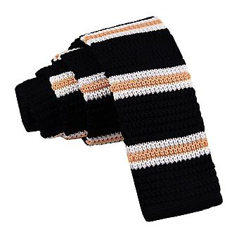 Black with Yellow & White Thin Stripe Knitted Skinny Tie
