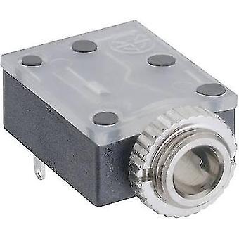 3.5 mm audio jack Socket, horizontal mount Number of pins: 3 Stereo Black Lumberg 1503 17 1 pc(s)