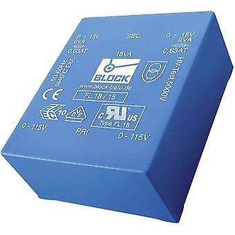 PCB-Mount-Trafo 2 x 115 V 2 x 6 V AC 18 VA 1,5 A FL 18/6 blockieren