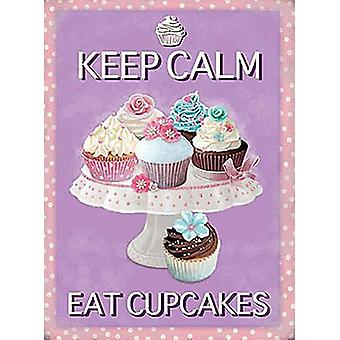 Keep Calm Eat Cupcakes Large Steel Sign 400Mm X 300Mm
