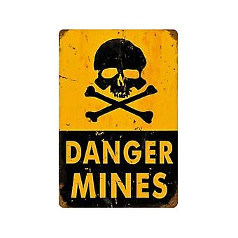 Danger Mines Rusted Metal Sign 460Mm X 300Mm