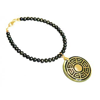 Gemshine - Damen - Armband - Anhänger - Medaillon - Perlen - Perlmutt - Vergoldet - Grau - Tahiti - 3 cm
