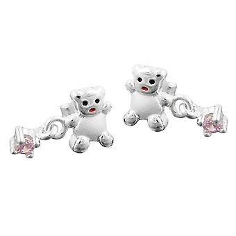Ear studs earring of Teddy with pink cubic zirconia pendant girls jewelry 925 Silver
