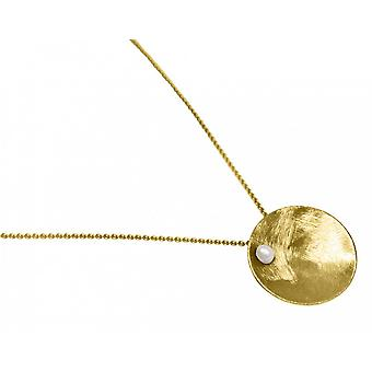 Ladies - necklace - pendant - 925 Silver - gold plated - shell - Pearl - White - 45 cm