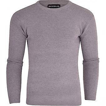 Secolo Mens Plain Jumper Basic Soft Crew Round Neck Knit Knitwear Sweater