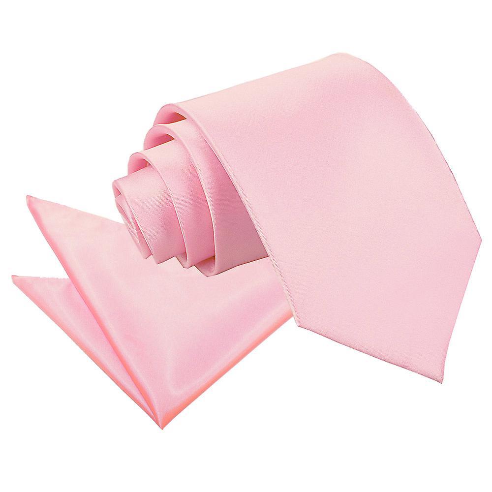 Baby Pink Plain Satin Tie & Pocket Square Set