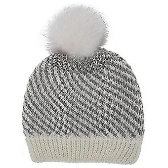 Dents Lurex Knitted Bobble Hat - Winter White/Grey
