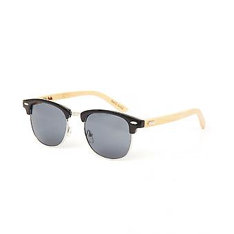 Colin Leslie Unisex Classic Sunglasses Black Frame Bamboo Arms With Smoke Lens