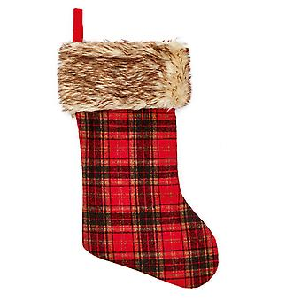 TRIXES Red Checked Christmas Present Stocking with Fur Trim