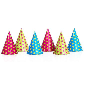 6 Bright Spotty Kids Card Party Hats | Kids Birthday Party Hats