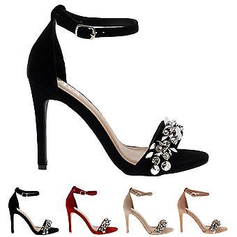 Womens Diamante fronten stroppen ankelen stroppen Party sandaler høye hæler sko UK 3-8