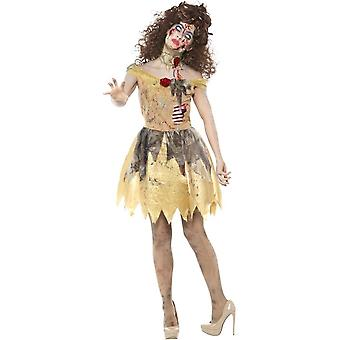 Smiffy's Zombie Golden Fairytale Costume, Yellow, With Dress, Attached Latex Ribs, Headband & Choker