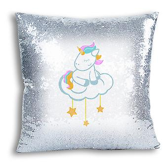 i-Tronixs - Unicorn Printed Design Silver Sequin Cushion / Pillow Cover for Home Decor - 1